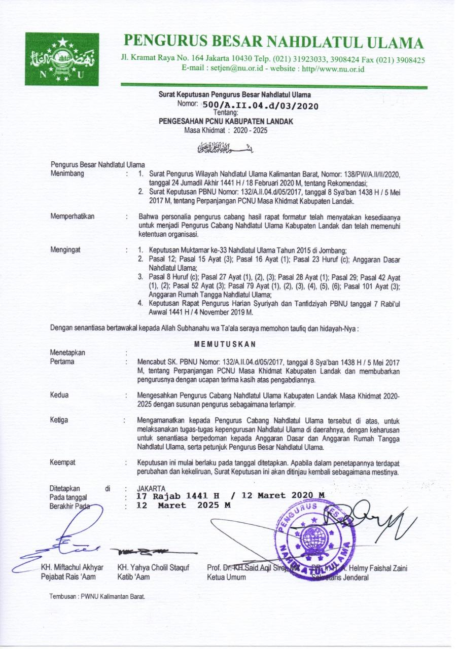 SK. PBNU Nomor: 500/A.II.04.d/03/2020 Pengesahan PCNU Kabupaten Landak