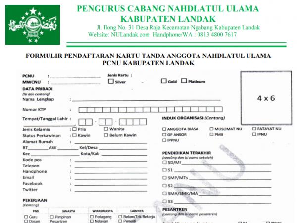 Formulir Pendaftaran KARTANU