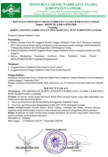 KEPUTUSAN PCNU Kabupaten Landak Nomor : 045/PCNU-LDK/A.II/IX/2020 Tentang: KARTANU