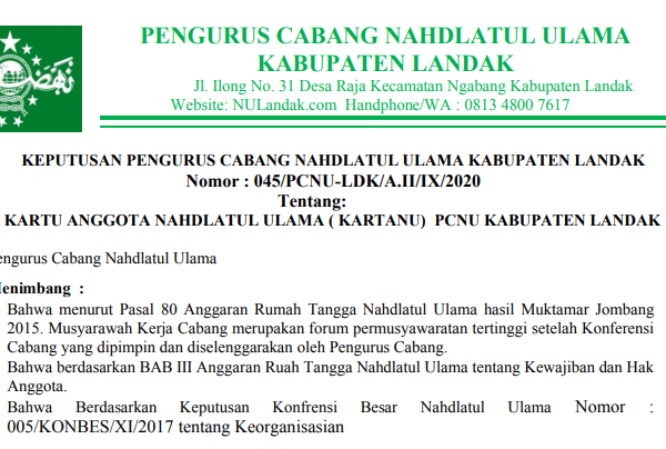 keputusan pcnu landak mengenai karty anggota nahdlatul ulama kartanu