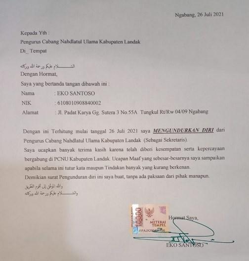 Unduh Surat Pengunduran Diri Eko Santoso, MM dari Sekretaris Tanfidziyah pcnu Landak